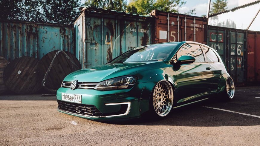 Emerald green Volkswagen Golf