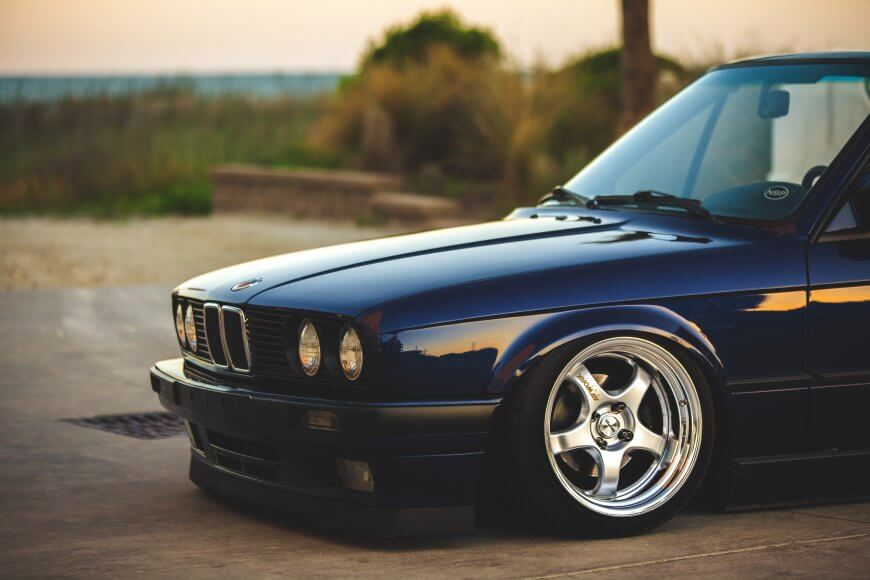 An E30 convertible with a style